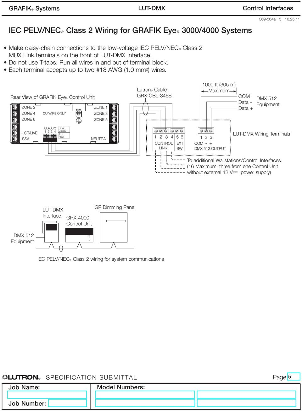 Control Interfaces Grafikr Systems A Lut Dmx Pdf Dmxprojectscom Dmx512 Lighting Projects Relay Schematic Rear View Of Grafik Eyer Unit Zone 2 1 4 Cu Wire Only