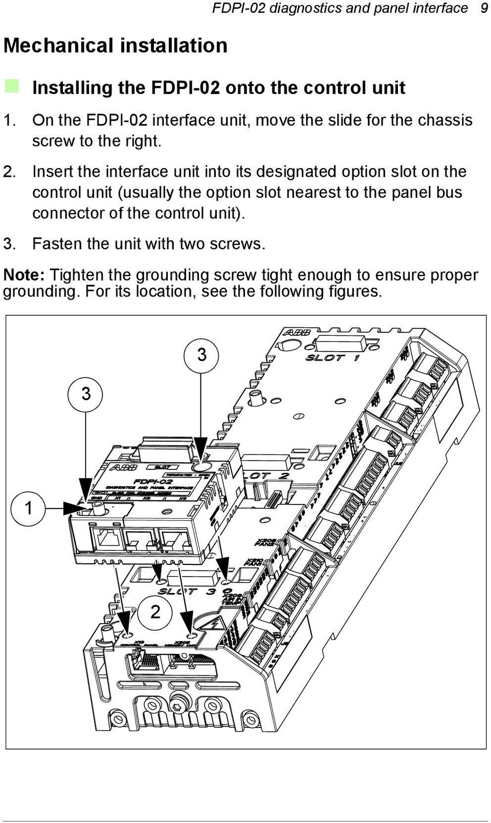 Insert the interface unit into its designated option slot on the control unit (usually the option slot nearest to the panel bus