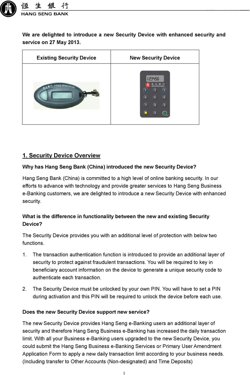 Hang Seng Business e-banking  New Security Device  Frequently Asked
