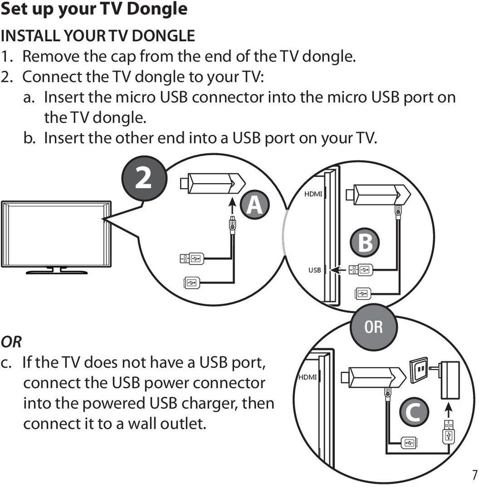 Insert the micro USB connector into the micro USB port on the TV dongle. b.