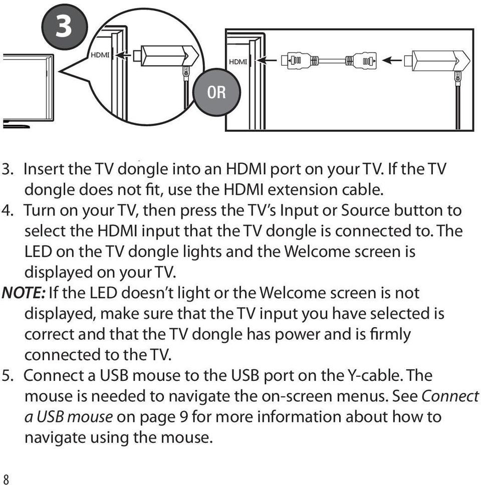 The LED on the TV dongle lights and the Welcome screen is displayed on your TV.