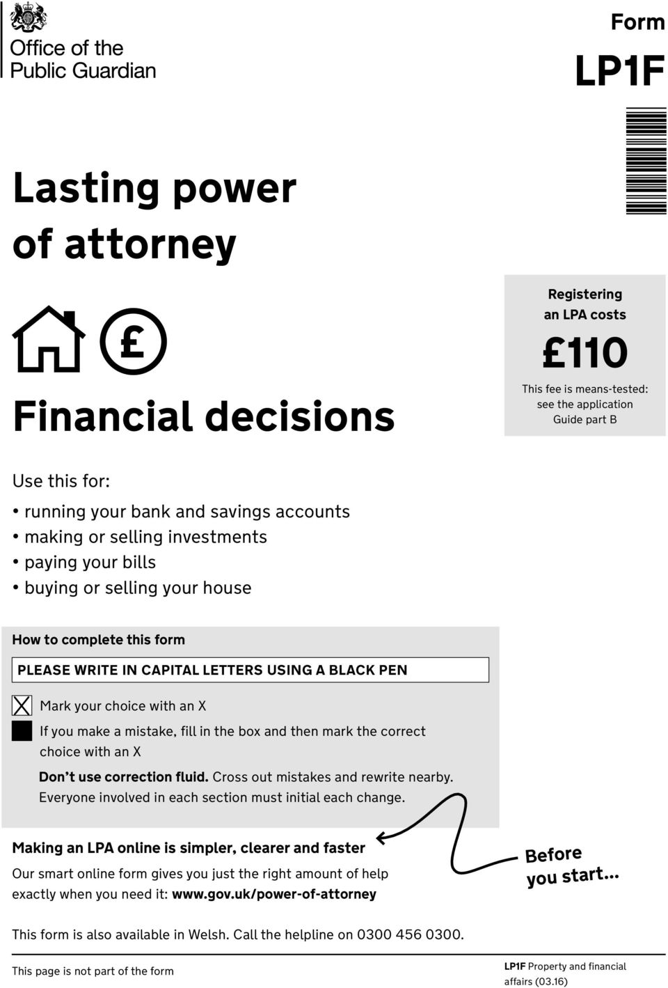 LP1F. Lasting power of attorney. Financial decisions. Form - PDF Free  Download