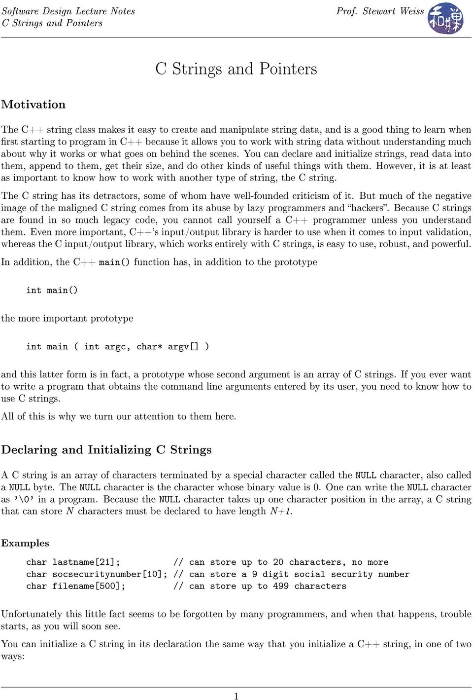C Strings and Pointers - PDF