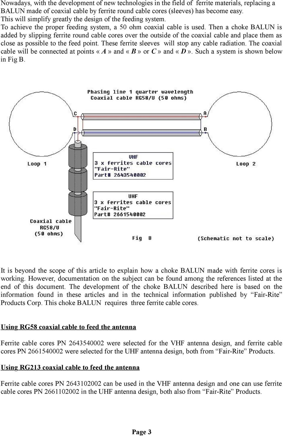 The Vhf Uhf Eggbeater Antenna Revisited Pdf Coax Cable Schematic Then A Choke Balun Is Added By Slipping Ferrite Round Cores Over Outside Of