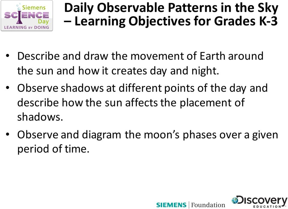 Observe shadows at different points of the day and describe how the sun
