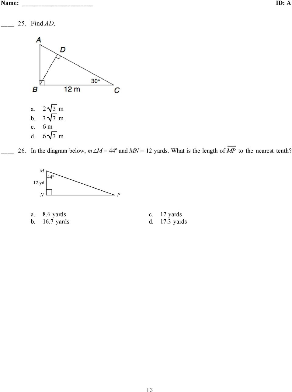 Geometry Eoc Practice Test 4 Pdf Diagram Below Shows Which Angles Betwee 0 Degreesand 360 Degrees Lie What Is The Length Of Mp To Nearest Tenth A