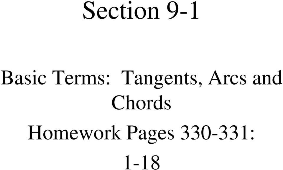 Section 9 1 Basic Terms Tangents Arcs And Chords Homework Pages Pdf