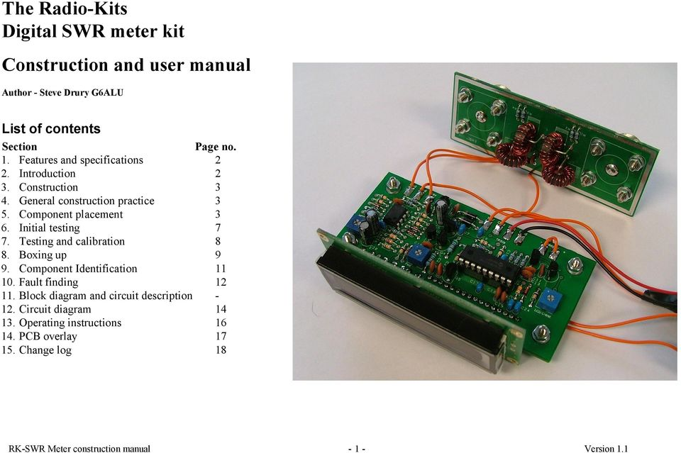 The Radio-Kits Digital SWR meter kit Construction and user