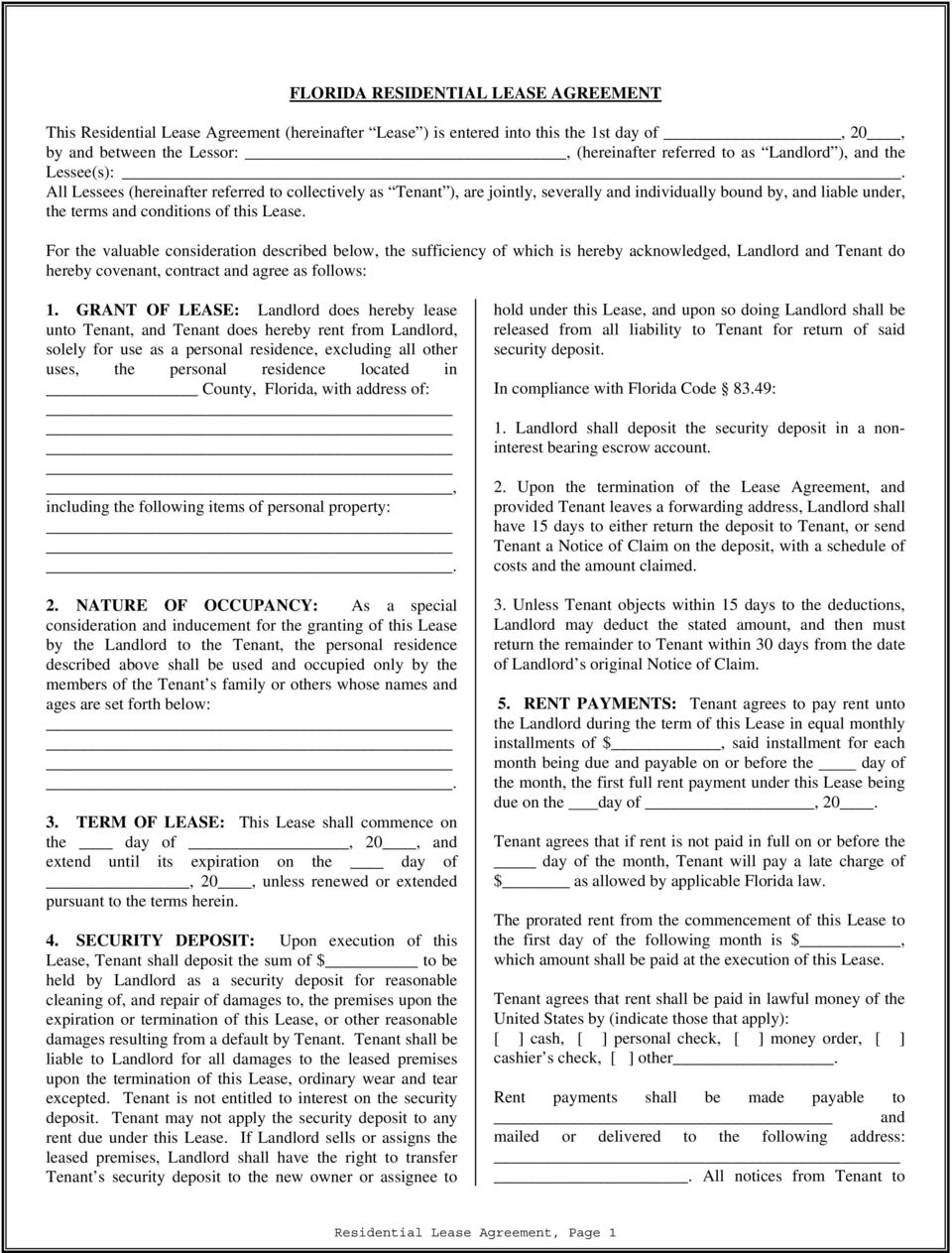 Florida Residential Lease Agreement Pdf