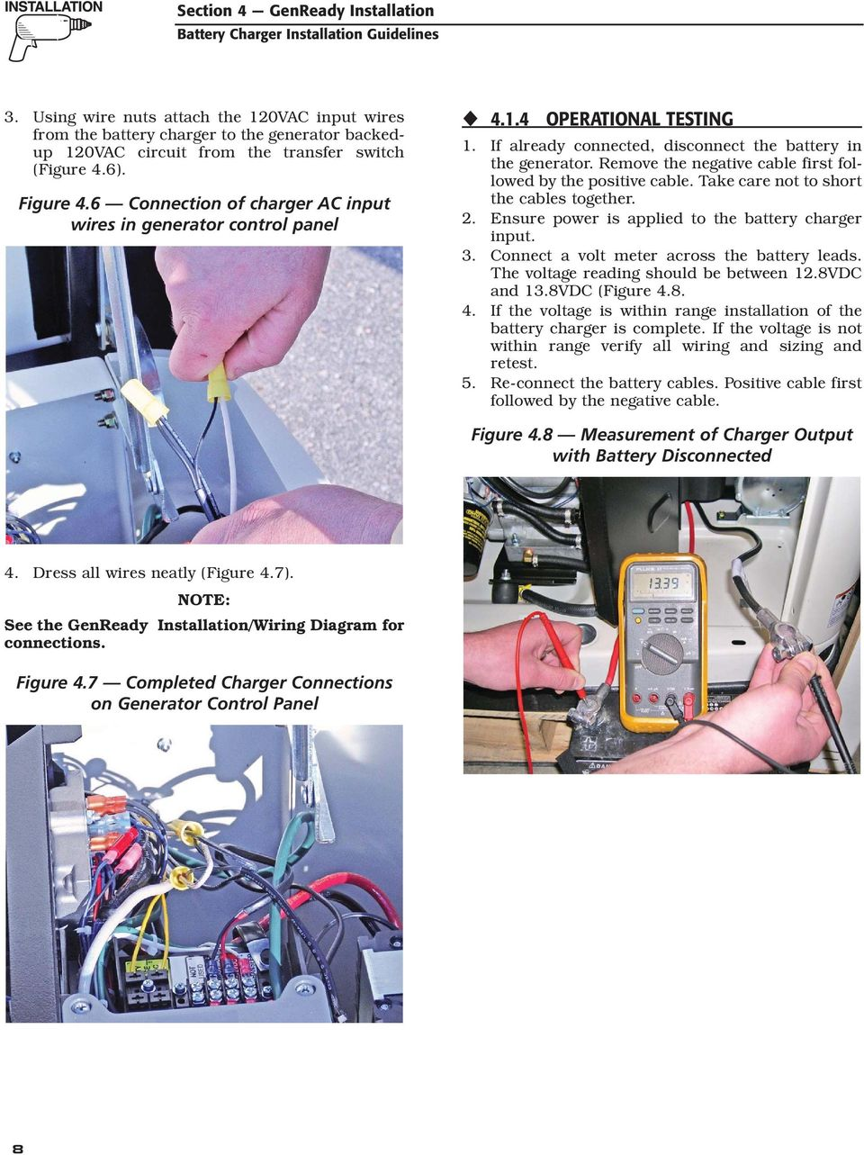 Air Cooled Generator Battery Charger Installation Guidelines Pdf Disconnect Wiring Diagrams Remove The Negative Cable First Followed By Positive Take Care Not To Short