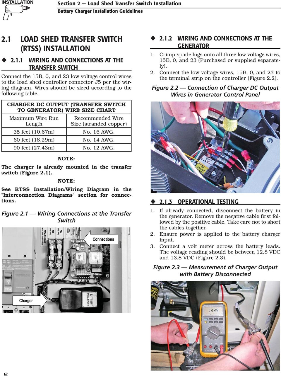 Air Cooled Generator Battery Charger Installation Guidelines Pdf Control Wiring Diagram 1 And Connections At The Transfer Switch Connect 15b 0 23