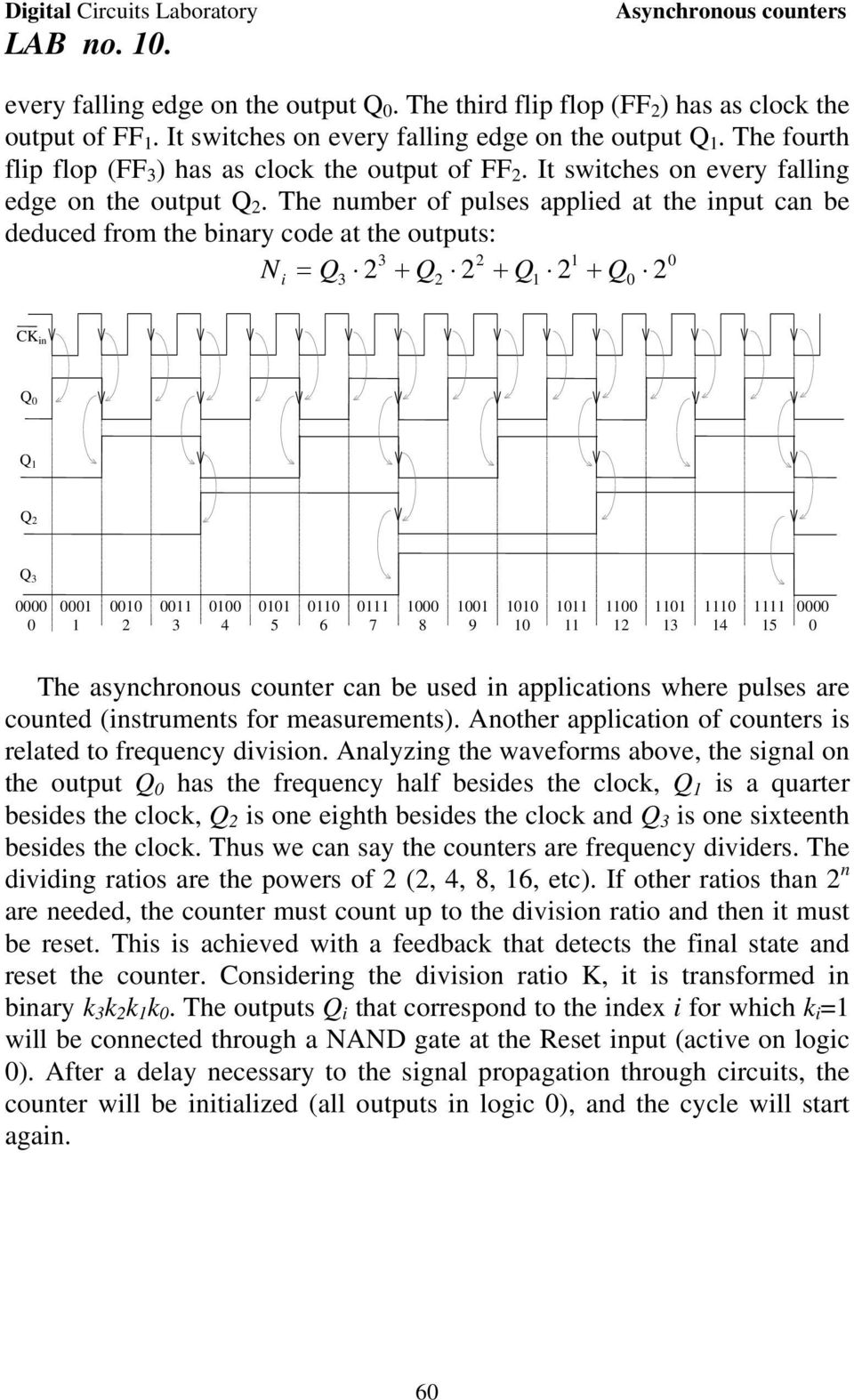 The number of pulses applied at the input can be deduced from the binary code at the outputs: Ni in 4 5 6 7 8 9 4 5 The asynchronous counter can be used in applications where pulses are counted