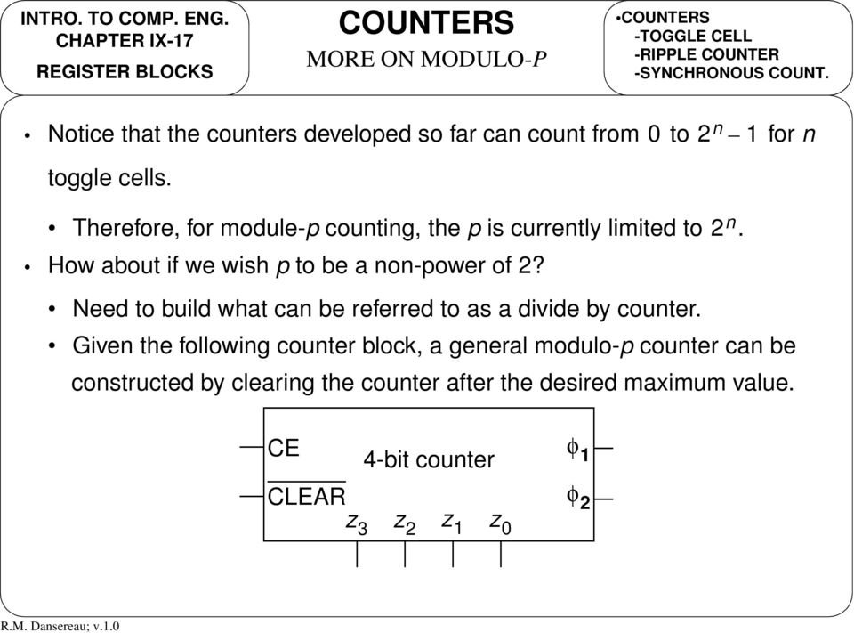 Therefore, for module-p counting, the p is currently limited to. How about if we wish p to be a non-power of 2?