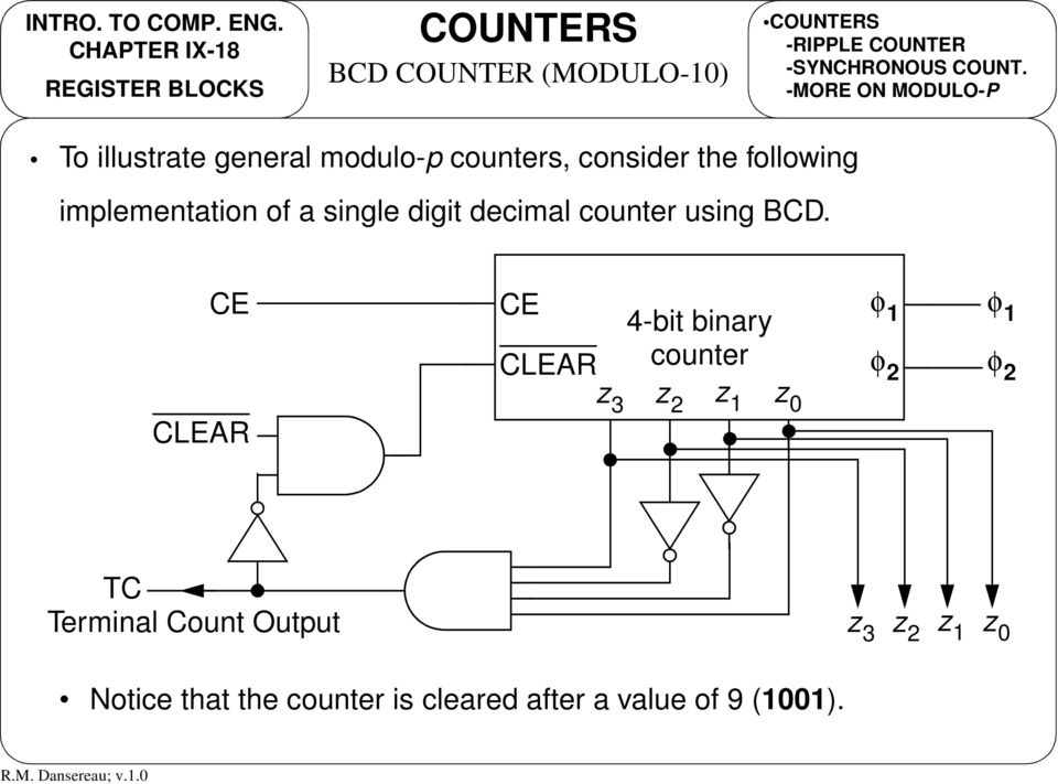 -MORE ON MOULO-P To illustrate general modulo-p counters, consider the following