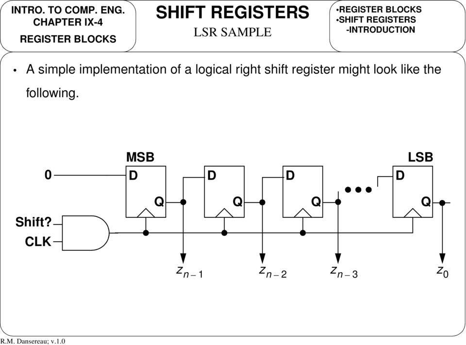 of a logical right shift register might look