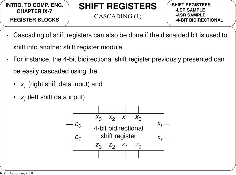 For instance, the 4-bit bidirectional shift register previously presented can be easily cascaded using the (right