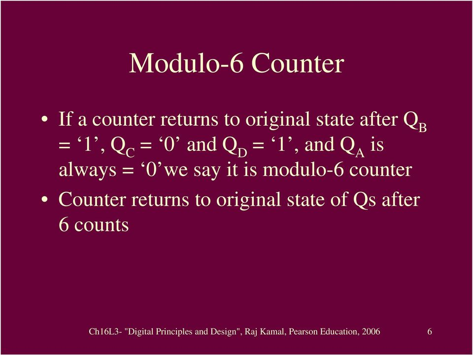counter Counter returns to original state of Qs after 6 counts