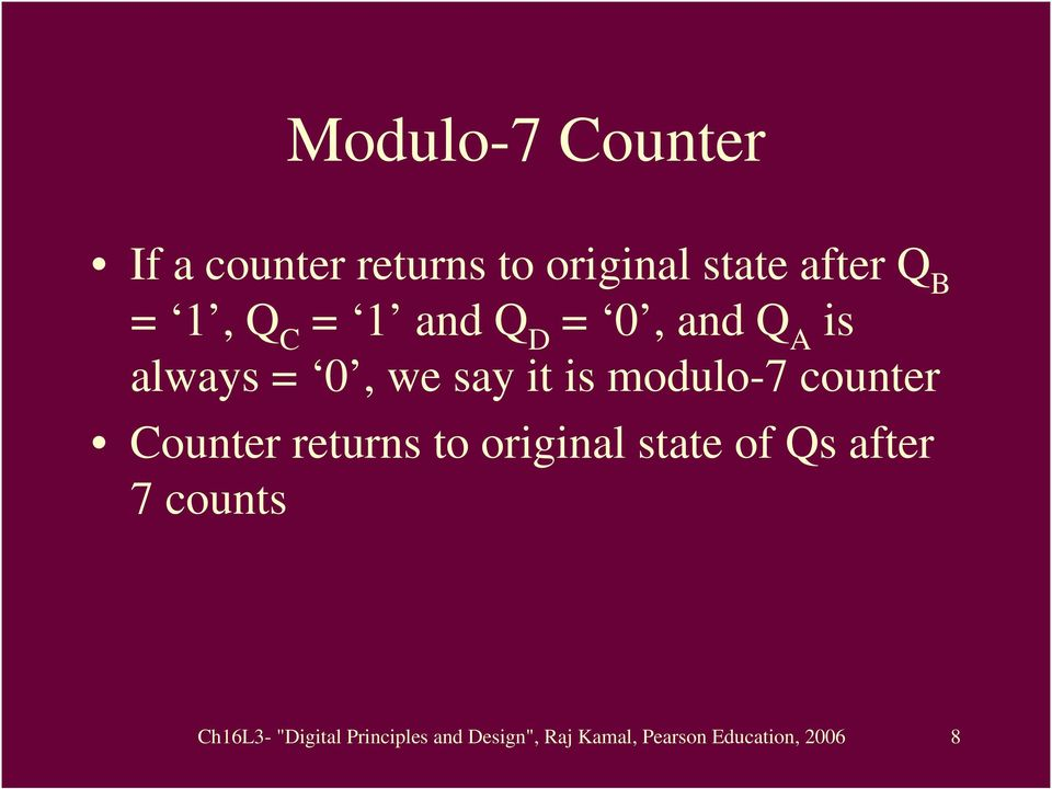counter Counter returns to original state of Qs after 7 counts