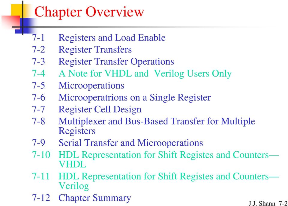 Multiplexer and Bus-Based Transfer for Multiple Registers 7-9 Serial Transfer and Microoperations 7- HDL Representation