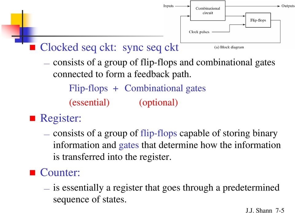 Flip-flops + Combinational gates (essential) (optional) Register: consists of a group of flip-flops capable of