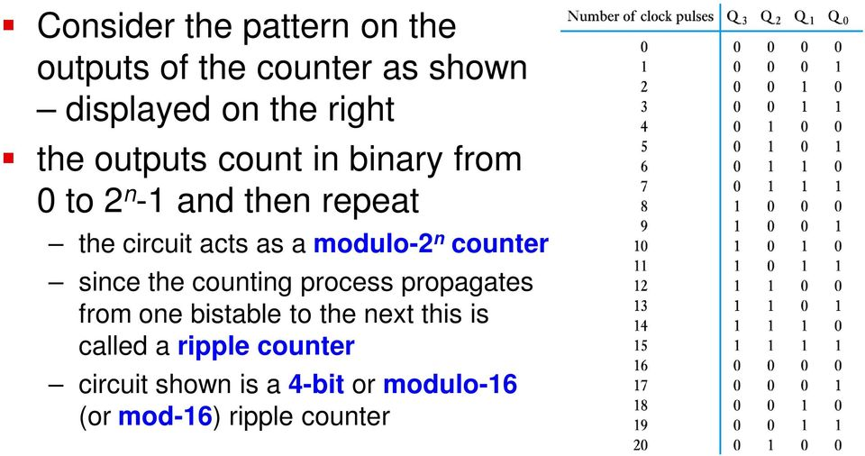 n counter since the counting process propagates from one bistable to the next this is