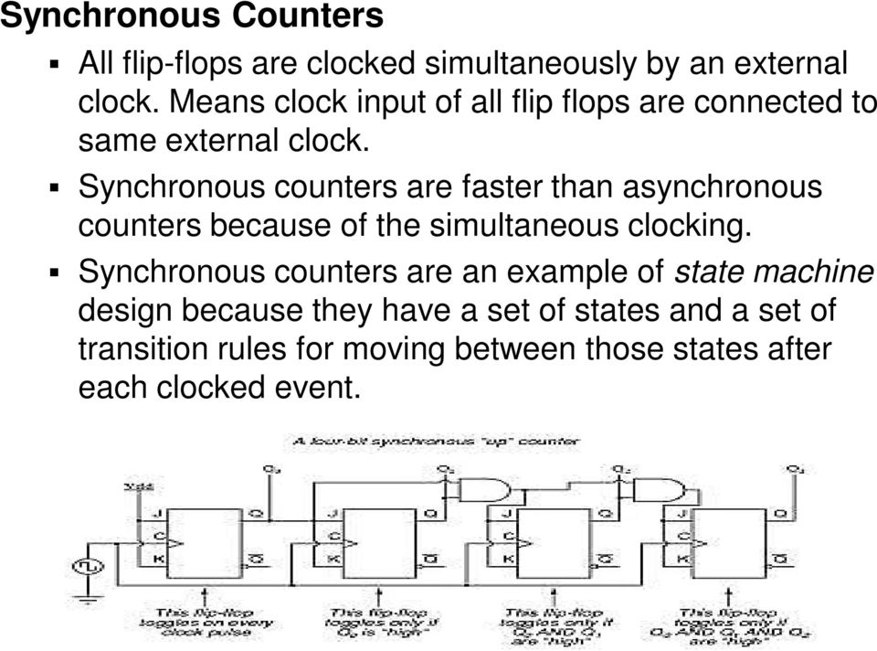 Synchronous counters are faster than asynchronous counters because of the simultaneous clocking.