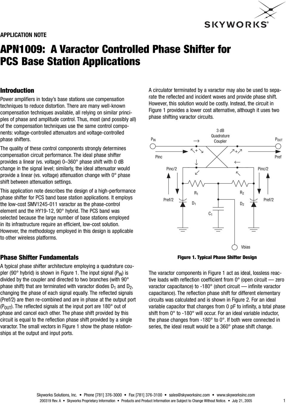 Apn1009 A Varactor Controlled Phase Shifter For Pcs Base Station Voltage Attenuator Thus Most And Possibly All Of The Compensation Techniques Use Same Control