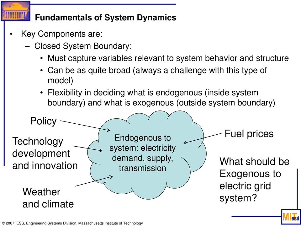 (inside system boundary) and what is exogenous (outside system boundary) Policy Technology development and innovation Weather