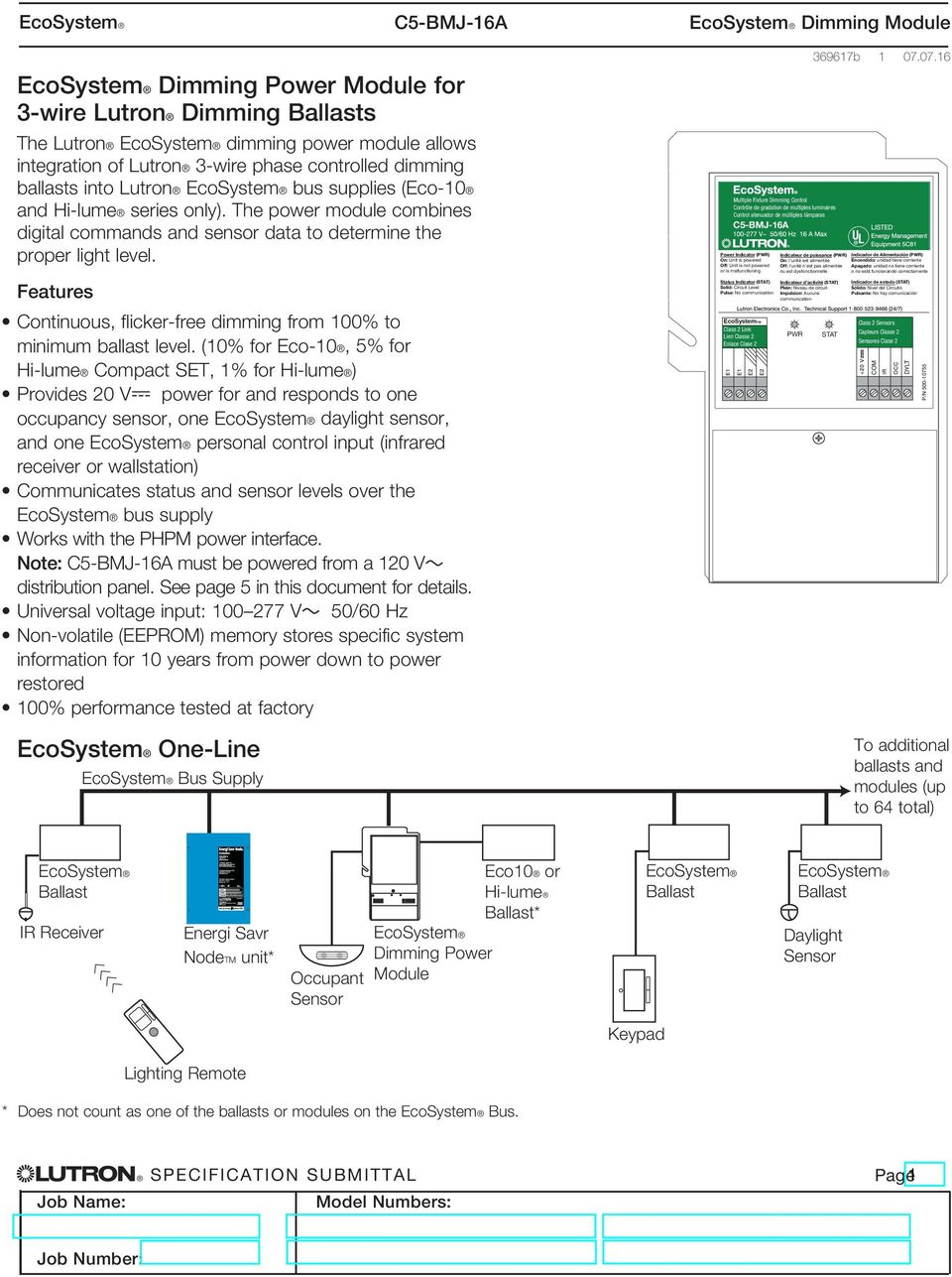 lutron ecosystem ballast wiring diagram ecosystem dimming power module for 3 wire lutron dimming ballasts  wire lutron dimming ballasts