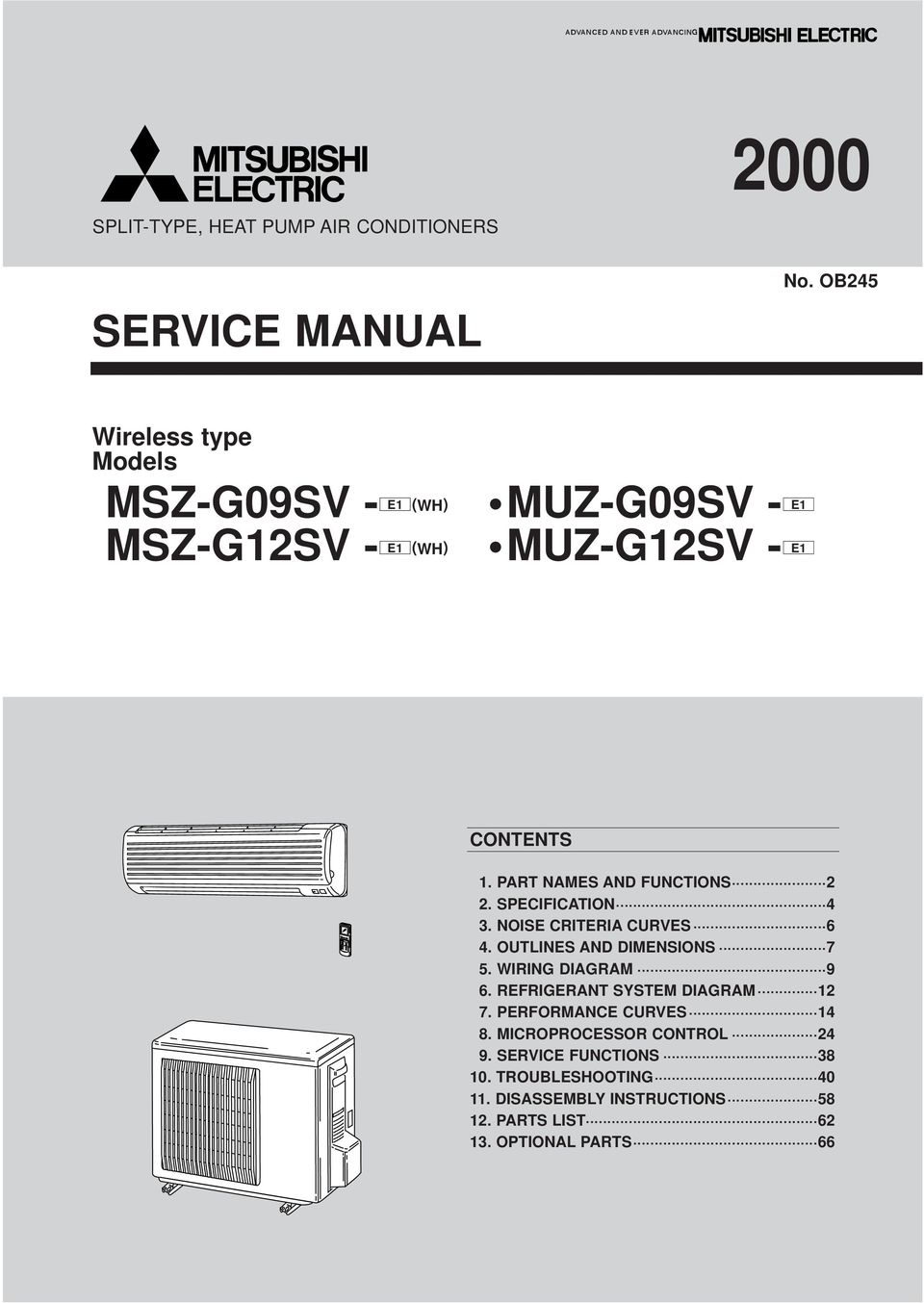 Muz G09sv Msz G12sv Pdf Mitsubishi Split System Wiring Diagram Part Names And Functions Specification 4 3 Noise Criteria Curves 6 Outlines