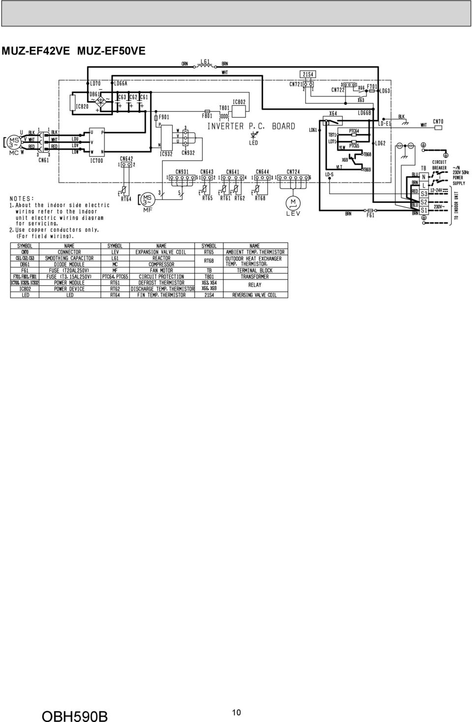 Service Manual Outdoor Unit No Obh590 Revised Edition B Models Motor Thermistor Wiring Diagram 11 7 Refrigerant System Muz Ef25ve Ef25veh Mm Pipe 952 With Heat Insulator 4 Way Valve Flared Connection Stop