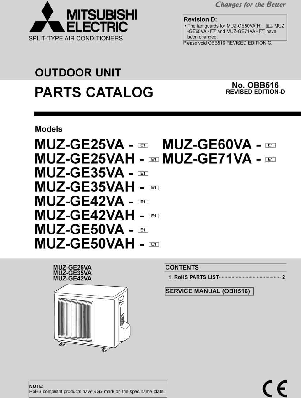 parts catalog outdoor unit no obb516 models pdf rh docplayer net Owner's Manual Manual Book