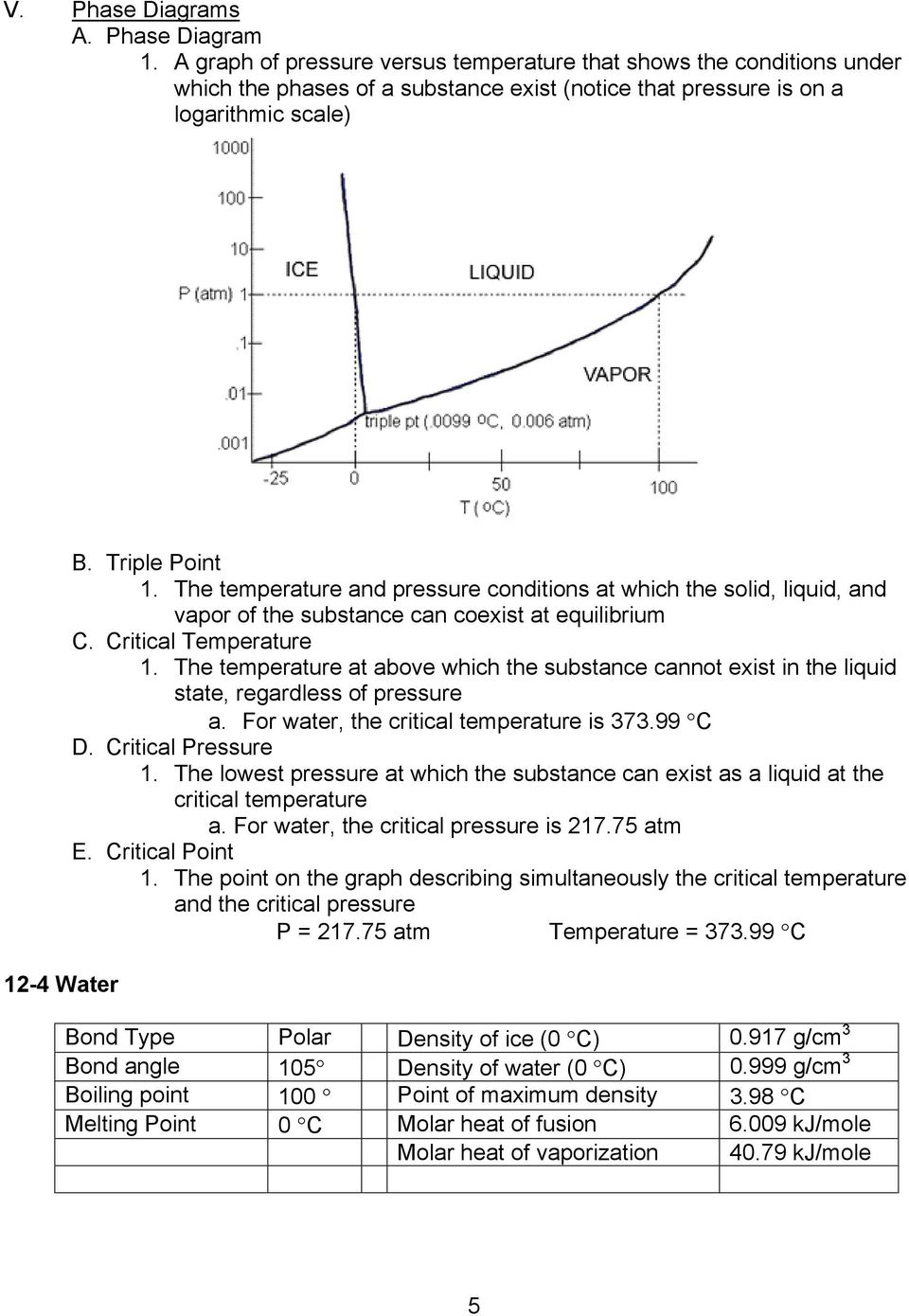 The temperature and pressure conditions at which the solid, liquid, and vapor of the substance can coexist at equilibrium C. Critical Temperature 1.