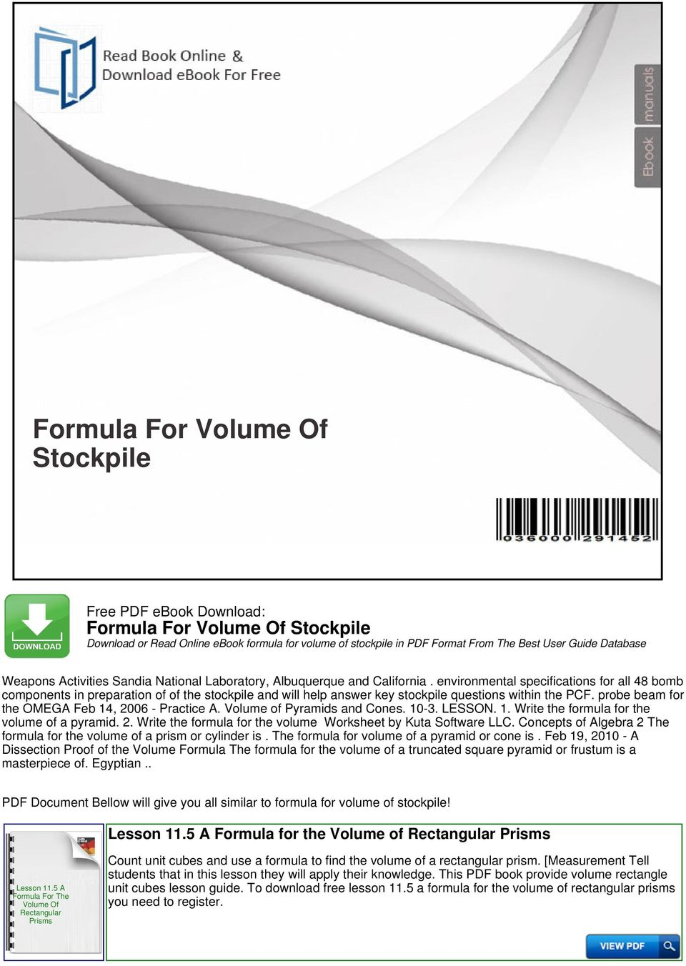 Formula For Volume Of Stockpile Pdf