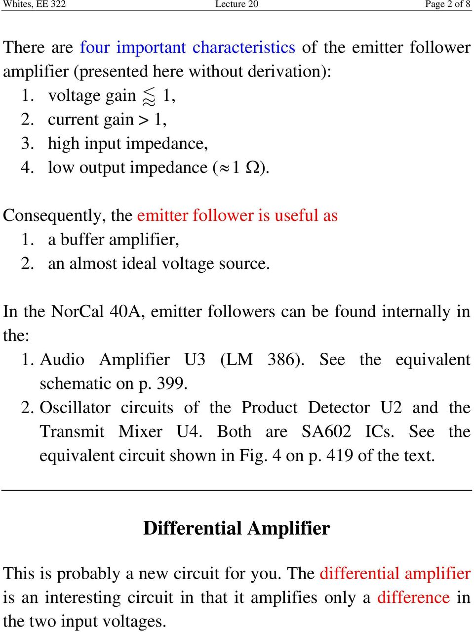 Lecture 20 Emitter Follower And Differential Amplifiers Pdf Circuit Audio Amplifir U3 Lm 386 S Th Quialnt Schmatic On P 399