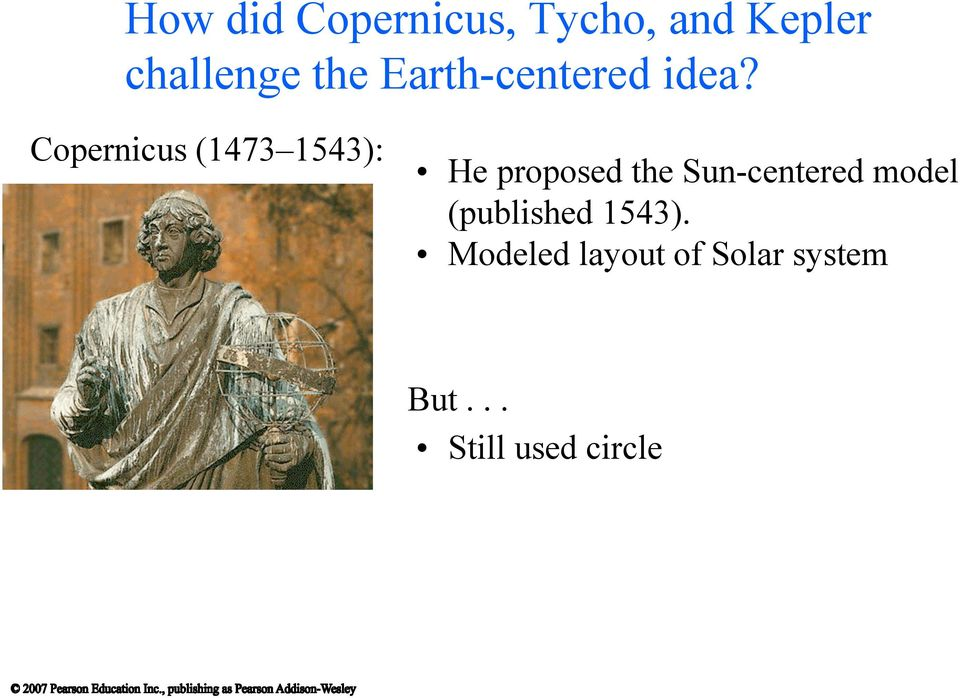 Copernicus (1473 1543): He proposed the