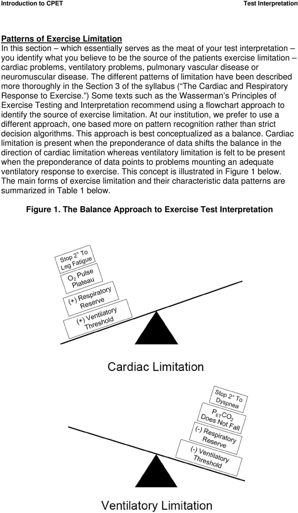 The different patterns of limitation have been described more thoroughly in the Section 3 of the syllabus ( The Cardiac and Respiratory Response to Exercise.