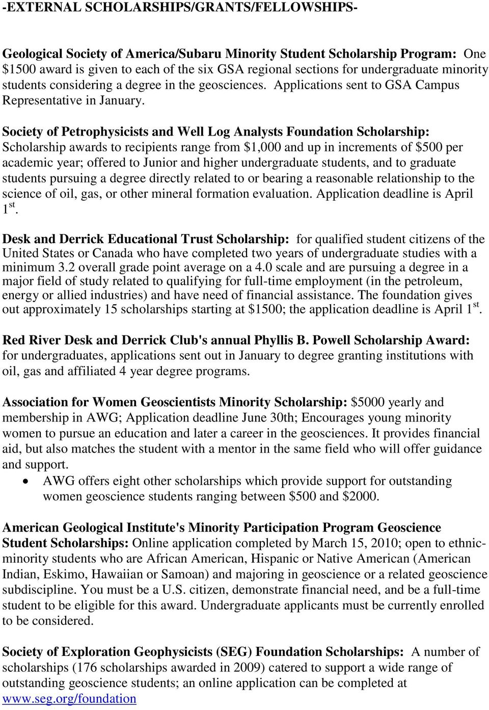 Society Of Petrophysicists And Well Log Analysts Foundation Scholarship Awards To Recipients Range From
