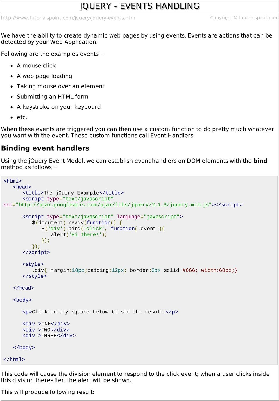 JQUERY - EVENTS HANDLING - PDF