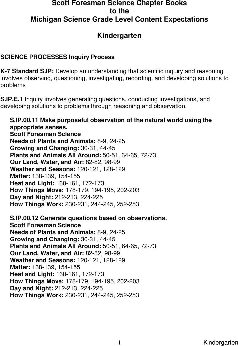1 Inquiry involves generating questions, conducting investigations, and developing solutions to problems through reasoning and observation. S.IP.00.