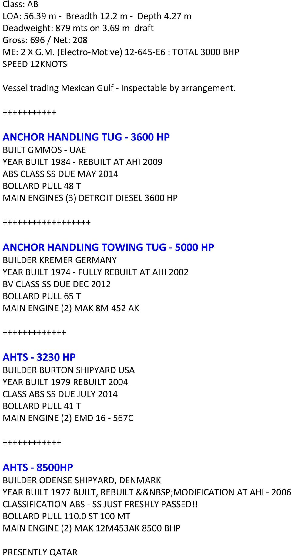 AHT AND AHTS FOR SALE -- CHARTER - PDF