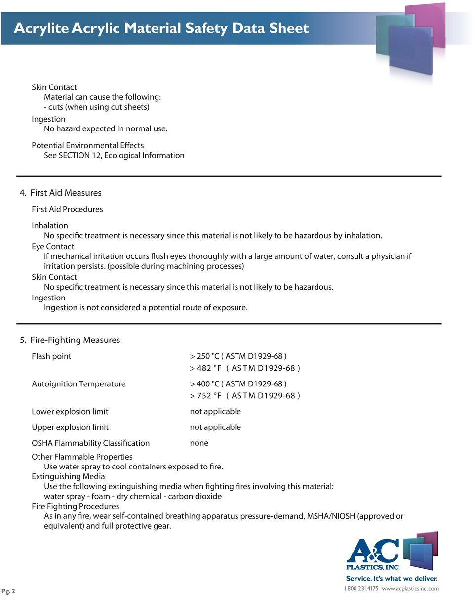 Acrylite Acrylic Material Safety Data Sheet - PDF