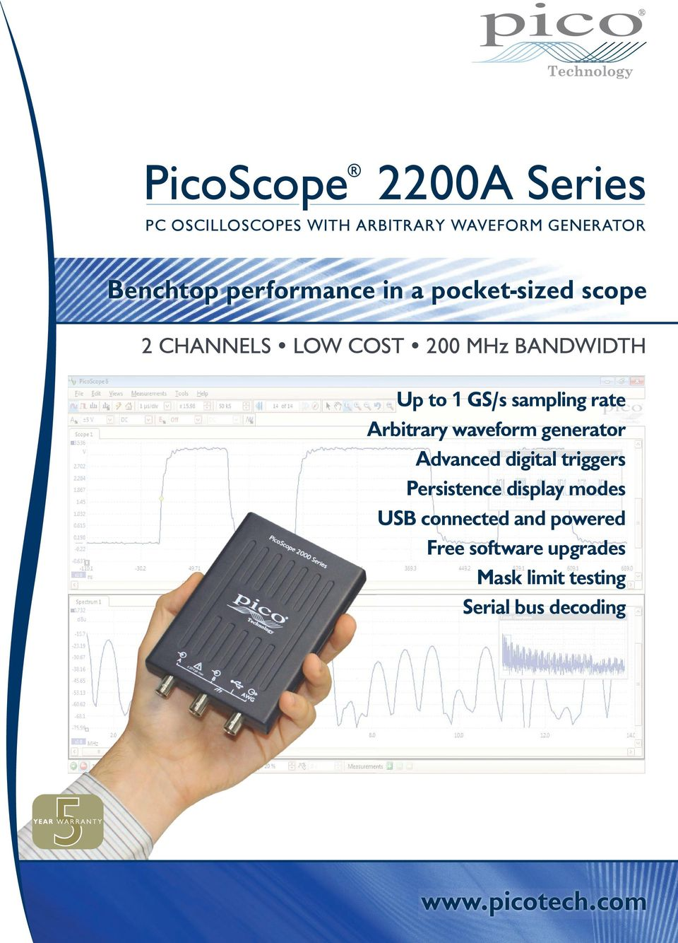 Benchtop performance in a pocket-sized scope 2 CHANNELS LOW COST 200