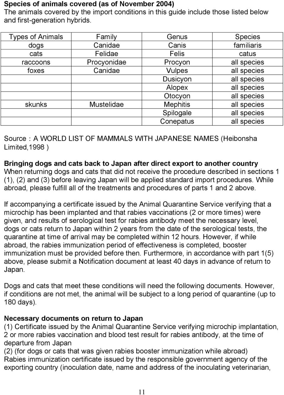 Importing Pets  into Japan - PDF