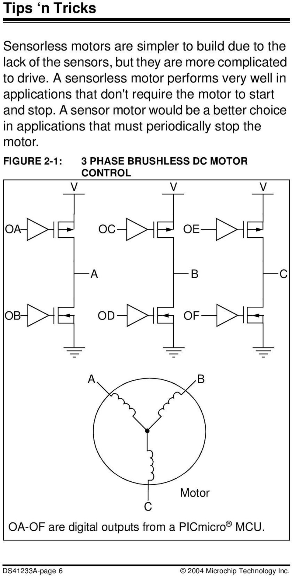 Picmicro Dc Motor Control Tips N Tricks Pdf Brushless Driver Block Diagram A Sensor Would Be Better Choice In Applications That Must Periodically Stop The