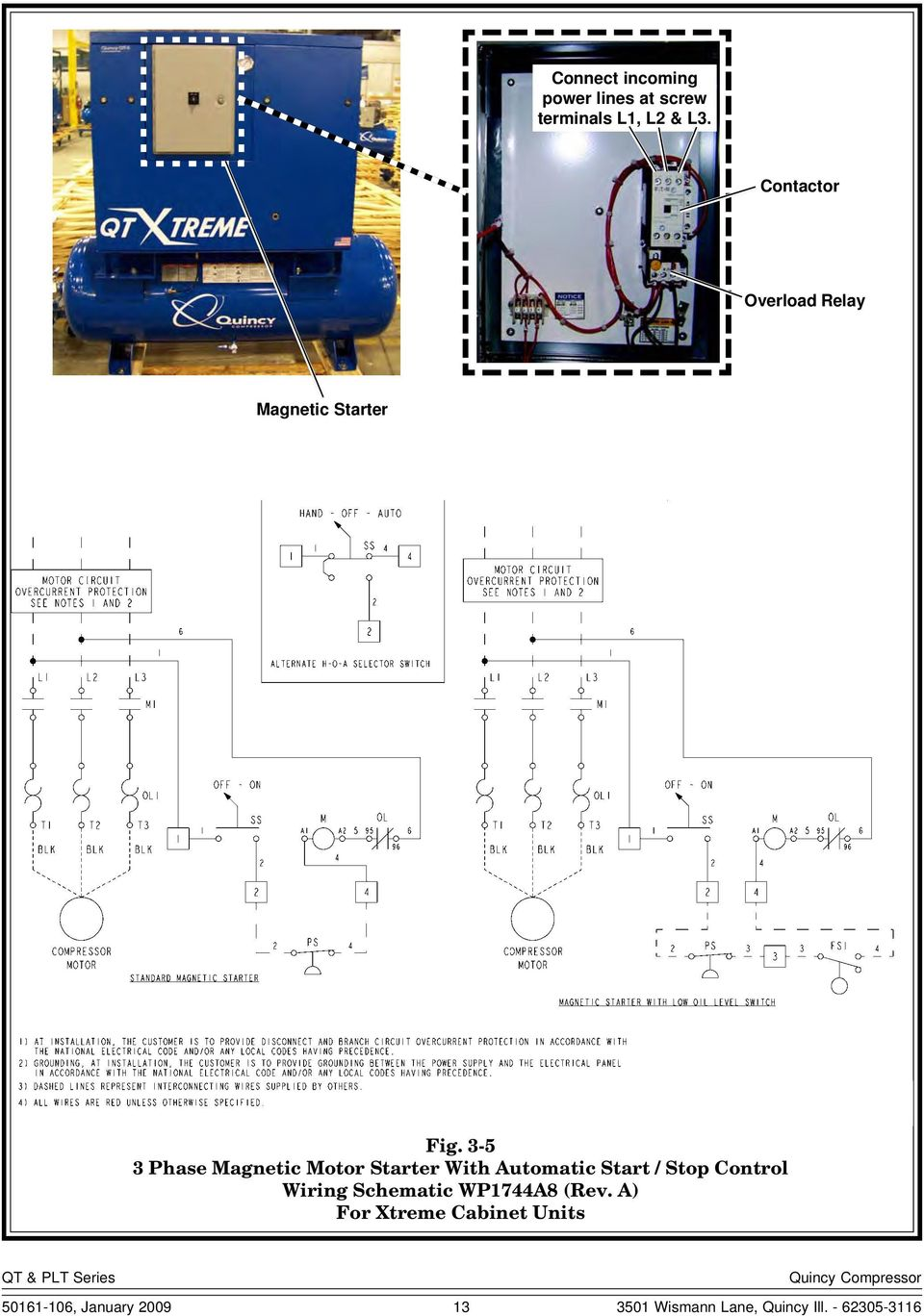 2 Stage Compressors Instruction Manual Pdf 3 Phase Compressor Wiring Schematic 5 Magnetic Motor Starter With Automatic Start Stop Control