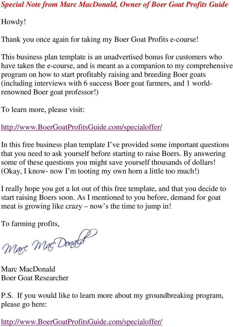 Special Note from Marc MacDonald, Owner of Boer Goat Profits