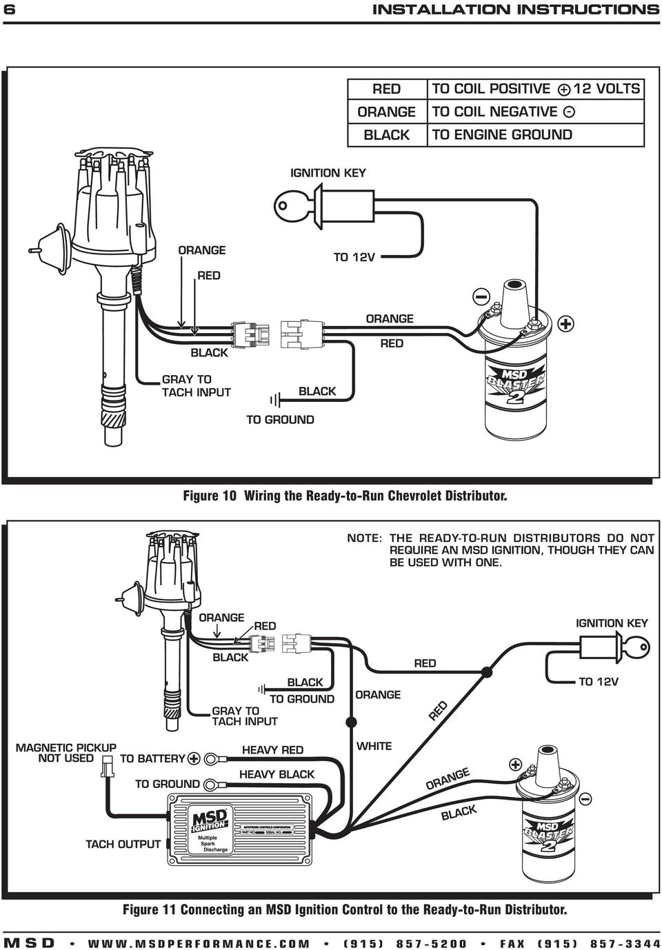 Msd Pro Billet Ready To Run Chevrolet V8 Distributor Pn 8360 Gm Wiring Diagram Note The Distributors Do Not Require An Ignition