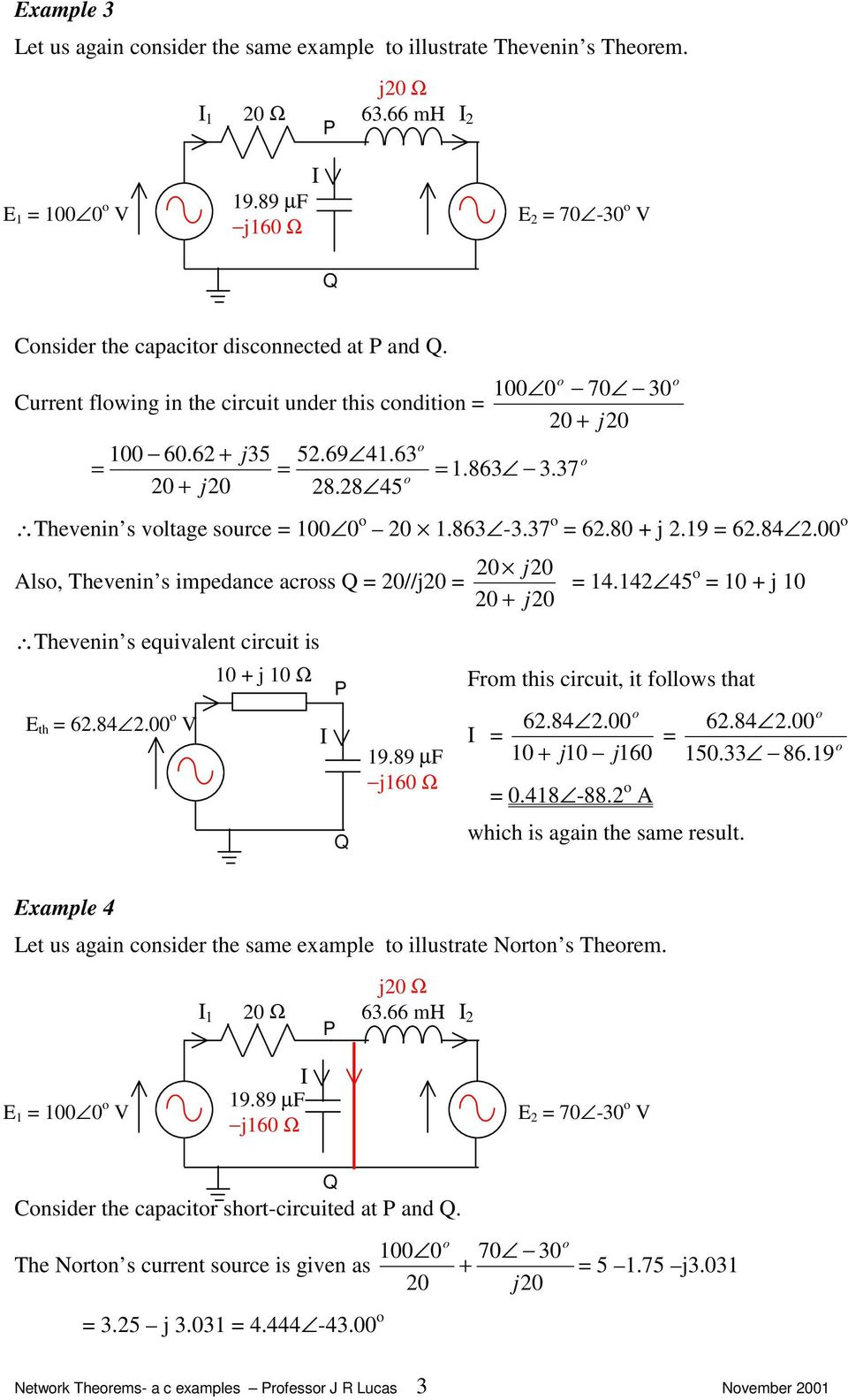Network Theorems Alternating Current Examples J R Lucas Pdf Thevenin Example 9 Ls S Impedance Acrss Equivalent Circuit Is E Th