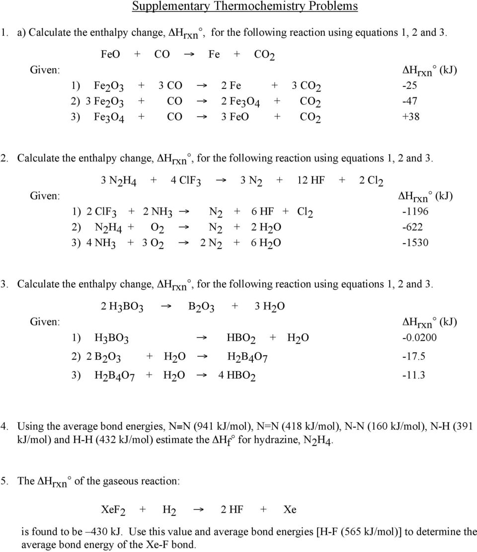 Enthalpy of Reaction and Calorimetry worksheet - PDF